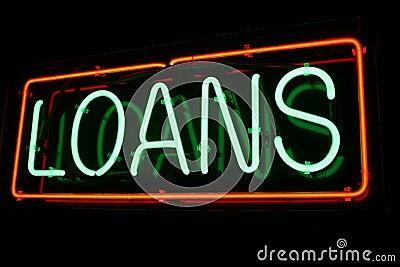 Muestra de neón roja y verde del préstamo