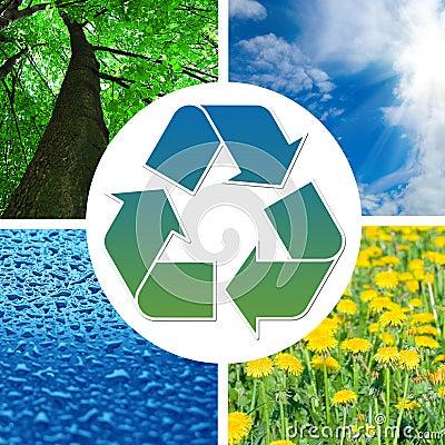 Muestra de reciclaje conceptual con imágenes de la naturaleza