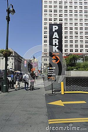 Muestra del estacionamiento Imagen editorial