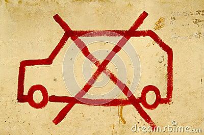 Muestra del estacionamiento prohibido, la India