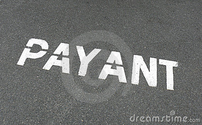 Muestra payant francesa del estacionamiento