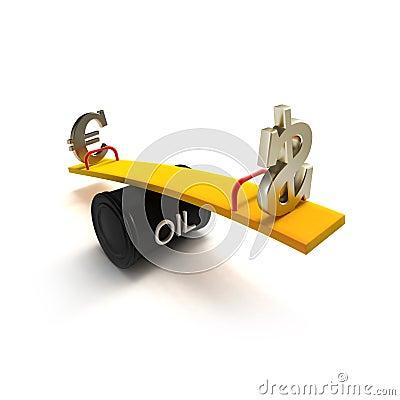 Muestras del euro y de dólar en un balancín del barril de petróleo