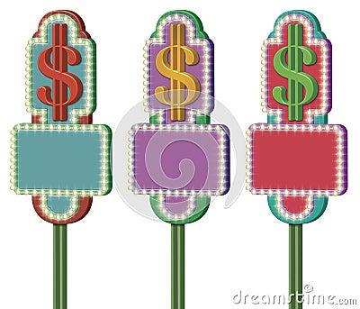 Muestras del símbolo del dólar