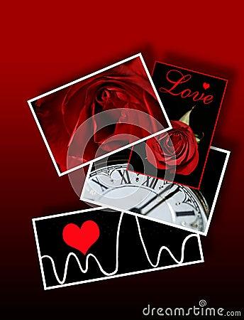 Muestras y símbolos del amor, tarjetas del día de San Valentín, romance