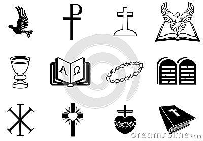 Muestras y símbolos religiosos cristianos