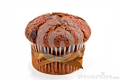 Muffin with cocoa and chocolate