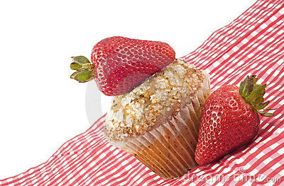 Muffin with Fresh Strawberries