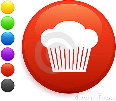Muffin icon on round internet button