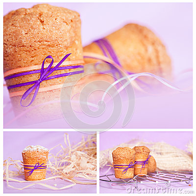 Muffin with purple ribbon. collage