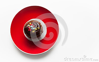 Muffin and Red plate