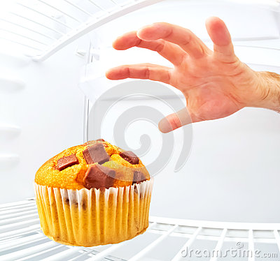 Muffin in a refrigerator