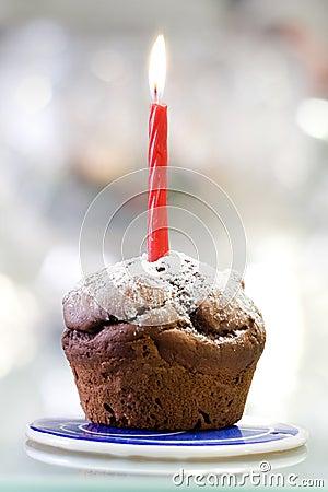 Muffin und Kerze