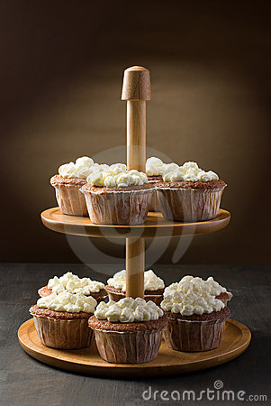 Muffins on a cake stand