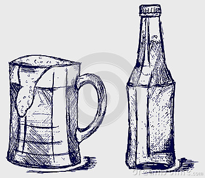 Mug and bottle beer