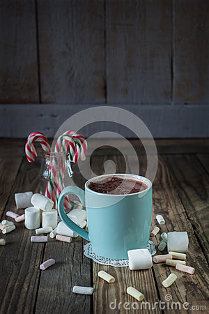 Free Mug Filled With Hot Chocolat Near Marshmallow  And Candy Canes I Stock Photos - 44355973