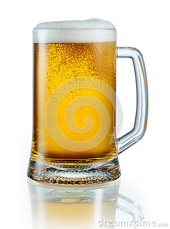 Free Mug Of Light Beer Isolated On White Background. Clipping Pa Stock Photos - 69825373
