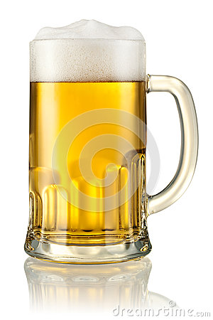 Free Mug With Beer Isolated On White. Clipping Path Royalty Free Stock Images - 33050959