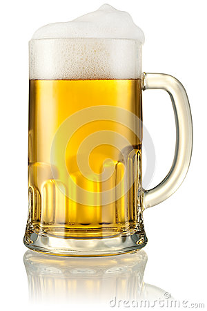 Free Mug With Beer  On White. With Clipping Path Royalty Free Stock Photos - 34935648