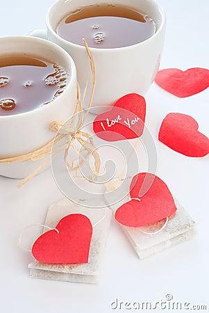 Mugs with chamomile tea
