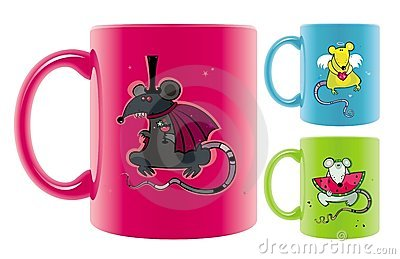 Mugs with rats drawings.