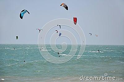 Kite surfers kite surfing at Mui Ne, Vietnam Editorial Stock Photo