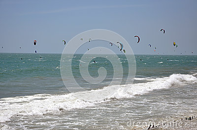 Kite surfers kite surfing at Mui Ne, Vietnam Editorial Stock Image