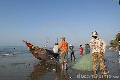 Mui Ne Vietnam Fisherman Editorial Photography