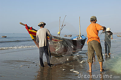 Mui Ne Vietnam Fisherman at the beach Editorial Stock Photo