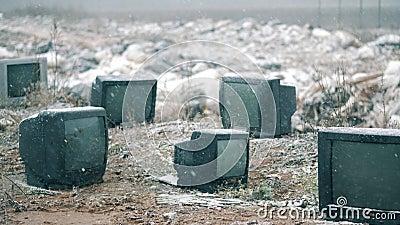 Muitas TV pretas em um dump vídeos de arquivo