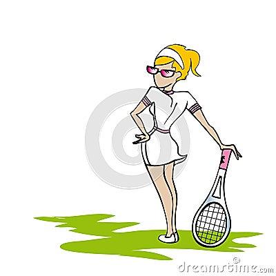 Mujer blanca del tenis