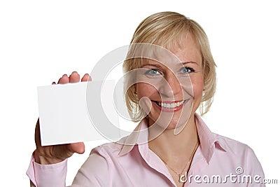 Mujer bonita con la tarjeta