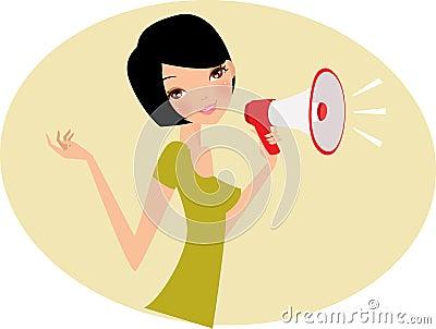 Mujer con el megáfono