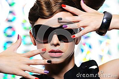 Woman Fashion Sunglasses on Woman With Fashion Manicure And Stylish Sunglasses  Click Image To