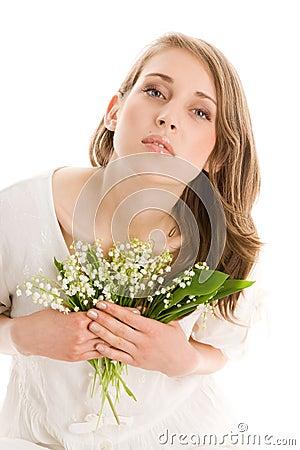 Mujer con las flores