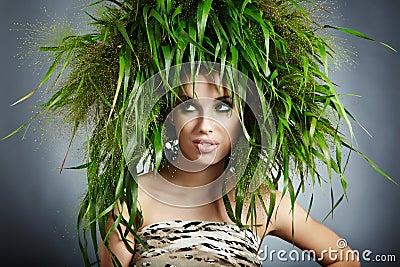 Mujer de la ecología, concepto verde