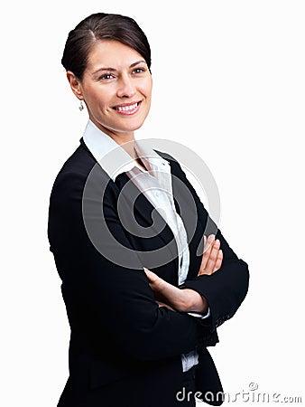 Mujer de negocios feliz que mira el coypspace