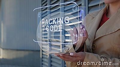 Mujer de negocios interactúa código HUD Hacking stock de ilustración