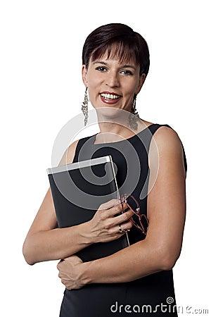 Mujer de negocios y computadora portátil