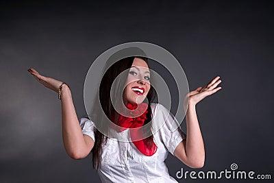 Mujer despreocupada feliz