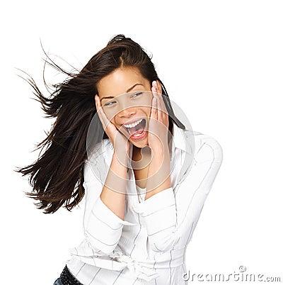 Mujer emocionada