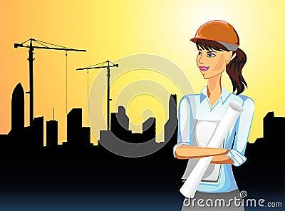 Mujer en actividad de edificio