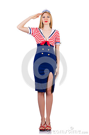 Mujer en traje del marinero