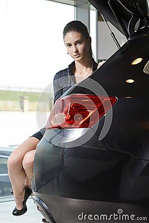 Mujer encantadora que se sienta en un tronco de coche