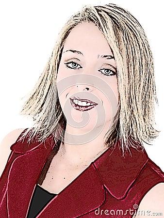 Mujer hermosa en juego de asunto sin mangas rojo