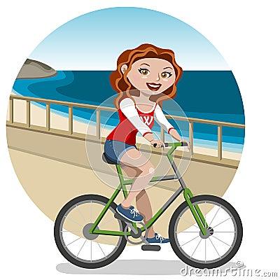 Mujer joven en la bici