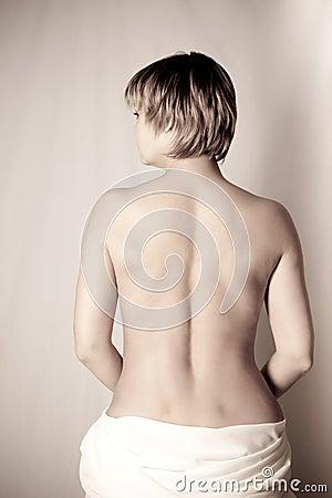 Mujer, parte posterior, dulzura y belleza
