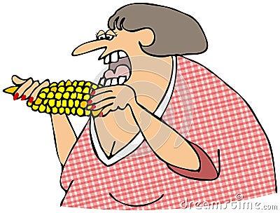 Mujer que come el maíz en la mazorca