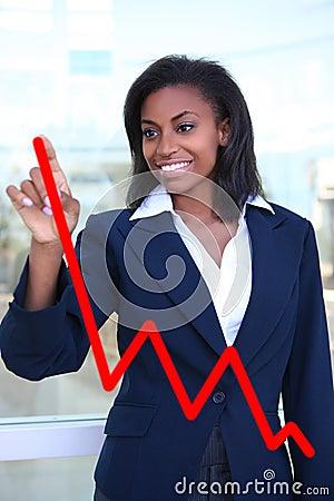Mujer que hace la carta del gráfico