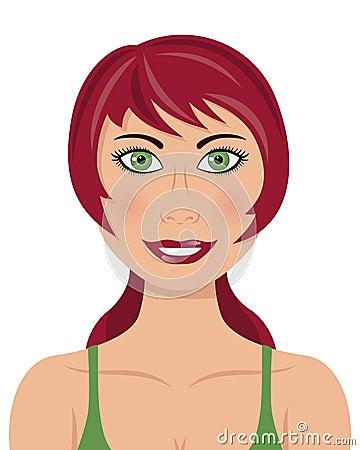 Mujer roja de los ojos verdes del pelo