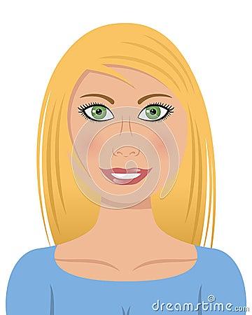 Mujer rubia con los ojos verdes